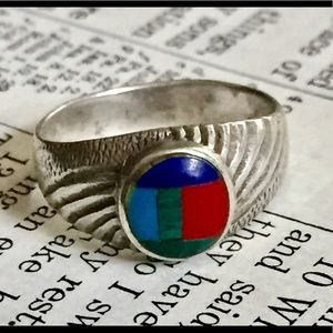 Native American Inlaid Stone Ring sterling silver